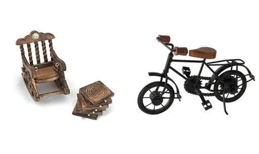 Beautiful Wooden Tea Coaster With Miniature Cycle