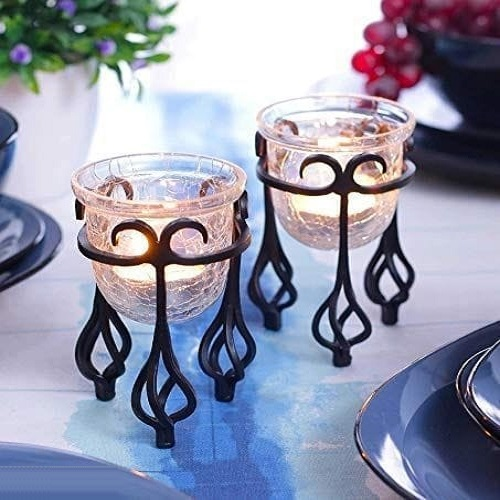 Glass Candle Holder Set of 2