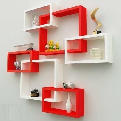 Red White Wall Shelves
