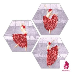 Dancing Lady Three Piece Hexagon MDF Painting Digital Reprint Painting