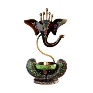 Indian Hand Crafted Iron Painted Ganesha T-Light Candle Holder Home Decorative