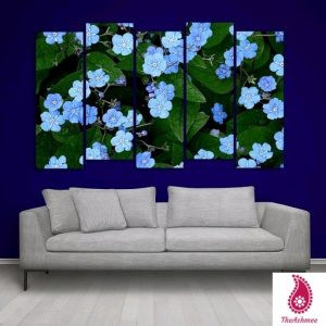 Multiple Frames Blue Floral Wall Painting