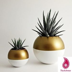 Brass & white Powder Coated Finish Planter