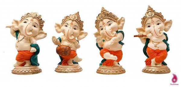 Polyresin Dancing Musical Lord Ganesha Idol Showpiece for Home Decor