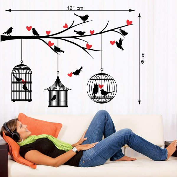 Birds Doing Love In Cages Wall Sticker