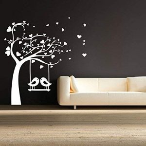 Birds Swings on Tree Wall Sticker, Wall Sticker for Bedroom, Wall Art, Wall Poster