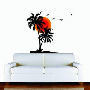 Red & Black Palm Tree Wall Sticker