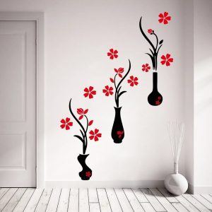 Red And Black Flower Pots Wall Sticker