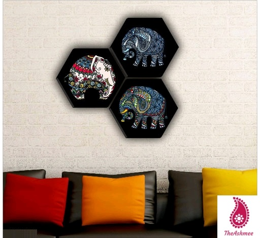 Set of 3 Hexagon elephant MDF Board UV Textured Painting