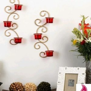 Metallic Gold Wall Sconce with Red and Clear Glasses