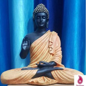 Buddha Statue Black Orange