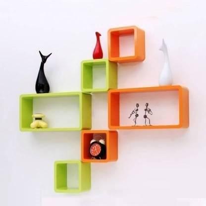 Green Orange Wall Shelves