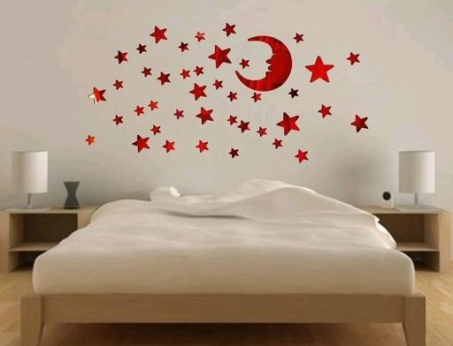 Star Moon Sticker in Red Color