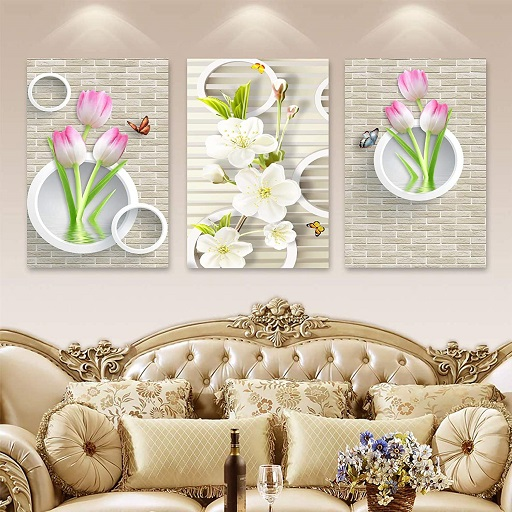 Lotus with Butterflies Wall Sticker (2)