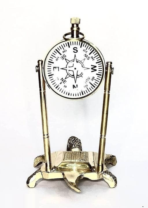 Brass Clock with Compass (2)